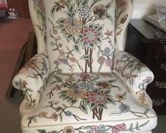 Brocade Textured Wingback Chair--Charming, Clean and Comfortable!