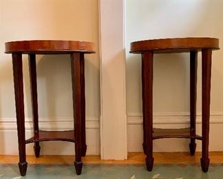 "Item 1:  (2) Vintage Inlay Side Tables - 17.25""l x 13.5""w x 25.5""h:  $495/pr"