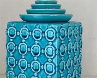 Decorative Aqua Covered Jar:  $28