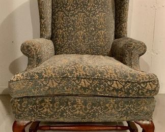 "Item 117:  Upholstered Armchair with Carved Cabriole Legs - 30.5""l x 22""w x 43.5""h:  $450"