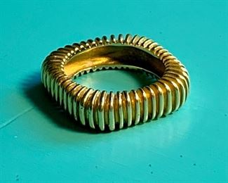 Item 85:  Unusual 18K Tiffany & Co. Ribbed Band- appx. size 6:  $950
