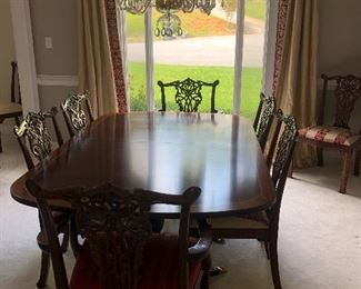 Mahogany Henkel Harris table with 3 leafs and custom table pads. 12 Maitland Smith Chairs.