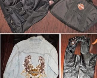 Harley Davidson clothes, backpacks and cases, helmets and some parts