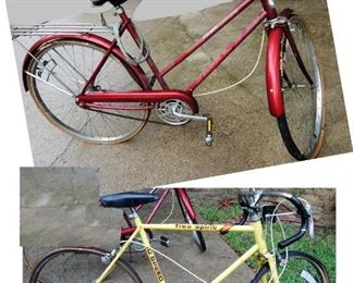 1970s Free Spirit bicycles, men and woman