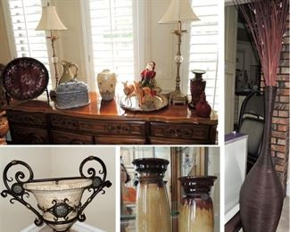 Home Decor, candle holders, pair of large -over-sized vases, Heavy wall urn, candle lamps