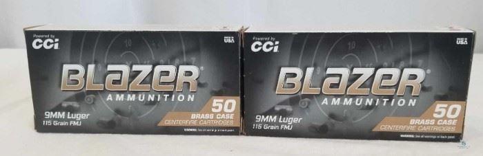 Blazer 9mm 115 Grain FMJ Cartridges