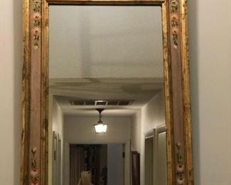 Beautiful mirror, gold leaf and painted in center. In staircase.
