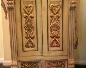 Painted, carved, entrance hall 2 door chest
