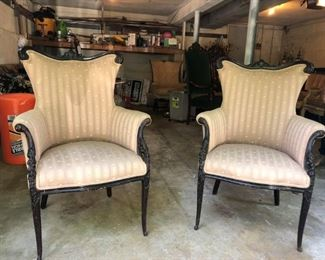 Pair of Antique Flat back Chairs, Carved Wood Accents