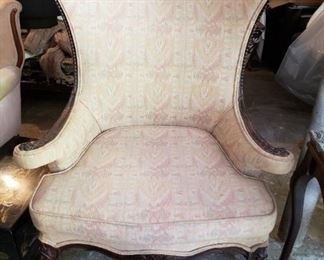 Queen Anne Style Flat Wing back Chair, Carved Mahogany  Frame