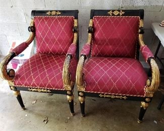 Black Lacquered Chairs with Gold Trim.