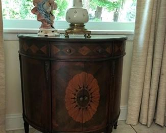 Demilune Cabinet with Marquetry Design