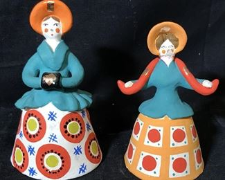 Collection of Painted Ceramic Russian Figurines