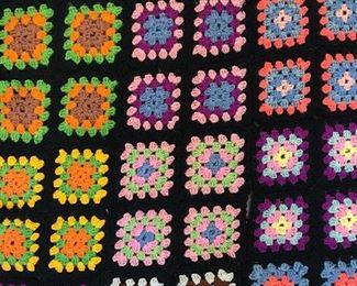 Vintage Multi Toned Crochet Blanket