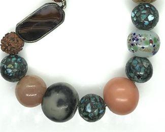 Multi Beaded choker Necklace , 14 in.