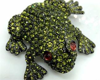 Joan Rivers Bejeweled Frog Pin Brooch