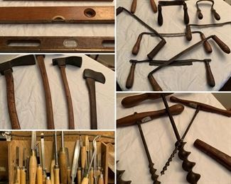 antique and vintage wood working tools, chisels, borers, augers, axes, planes, hand planes, levels