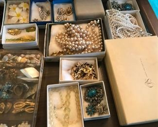 Huge table filled with high end Vintage Jewelry