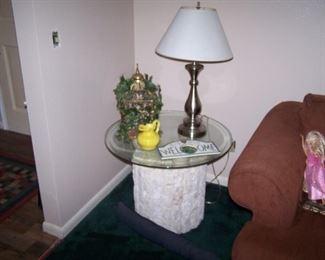LAMP  GLASS-TOP LAMP TABLE