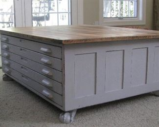 Map cabinet - coffee table. Ball and claw feet