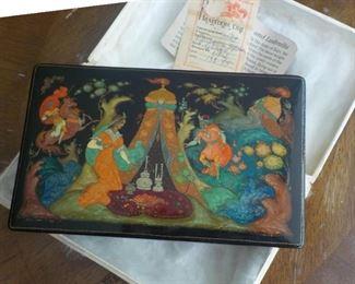 Russian lacquer box Ruslan and  Chernan