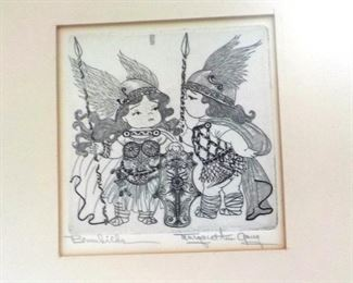 Etching detail, children in famous opera scenes