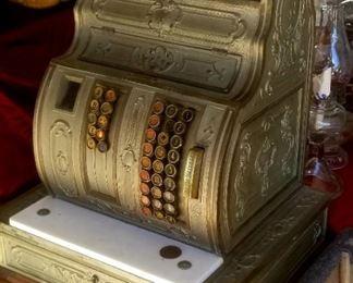 Classic old brass cash register