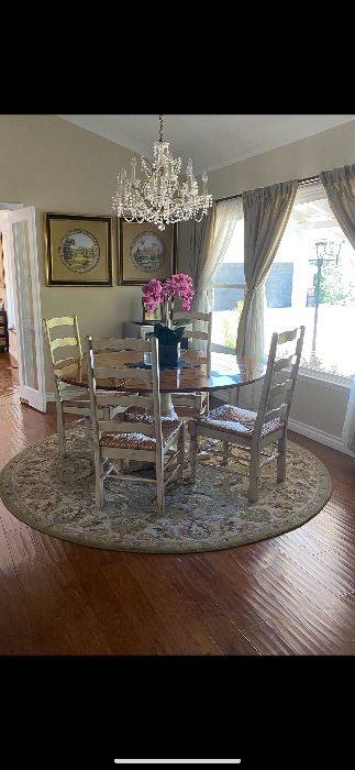 Glabmans breakfast table with fold down sides and 6 chairs