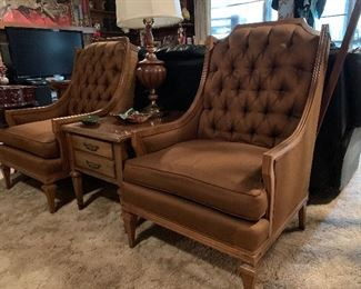 Pair of vintage tufted back arm chairs Key City custom upholstered furniture
