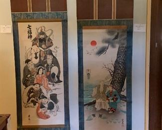 Pair of scrolls brought back from Japan each measuring just over 5 feet unfurled