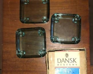 Mid Century Modern Dansk green ash trays with original box