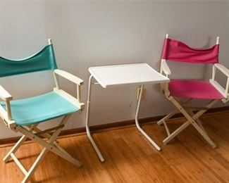 5. Side Table With Two 2 Folding Chairs