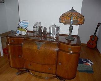 Art Deco Bar and Leaded Lamp