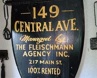 Antique Handpainted Bergen County, NJ Wooden Sign