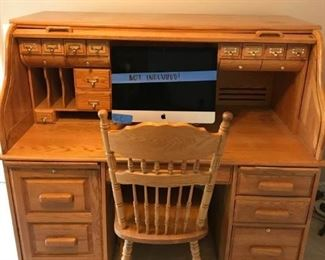 Roll Top Desk and Chair