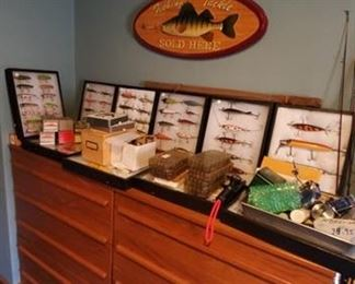 LOTS OF VINTAGE FISHING LURES, RODS & REELS & Supplies...Extensive Collection!
