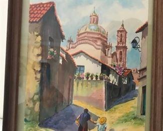 beautiful Hispanic watercolor painting
