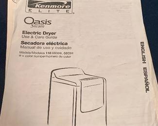 Well kept, Kenmore Elite Oasis Steam Dryer