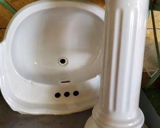 Deco Incepa Pedestal Sink. Wish Sea Shell Soap Engraving. 2 Pieces