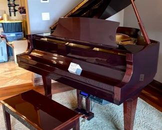 "Lot 1500  Asking $7,500.00  ESSEX Designed by Steinway Baby Grand Piano Model EGP-161, Serial No. E105796. Purchased New in 2008 with Digital Player.  5'3"" L, Finish is High Gloss, Color/Wood Mahogany.  Literally no one has played this piano, it has been tuned regularly and has the Digital Player ""Piano Disc"" Model No. PDS-228 CFX Silent Drive. Media CD and Piano Disc. Gorgeous Piano and Big Sound Smaller Footprint.  Comes with Matching Bench.  Similar Pianos are Selling for $9,000 on eBay without the Disc Player which is a $3500.00 Upgrade, so you are getting a steal at this price.  Better than new!"