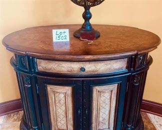 "Lot 1502 $425.00. Seven Seas by Hooker Foyer / Buffet Parquet Top Oval Chest from Strawflower.  Orig. Paid $1,048.00.  42"" W x 24.5"" D x 34.5 H.  Super cute!"