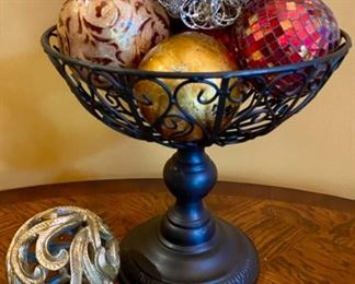 "Lot 1503 $75.00  Metal Footed Basket with 7 Assorted Decorative Spheres,  12"" H x 12"" Diameter."