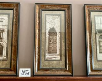 "Lot 1505 $210.00  Trio of Pictures of Doors with Frames From Strawflowers.  Unique Embellished Frames.  Orig. Paid $142.00 Ea. Dimensions 31"" H x 16"" W Each."