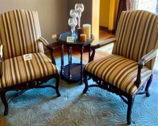 "Lot 1506 $425.00 Ea or $800.00 for Pair.  Pair of Upholstered Chairs ""Manchester"" Beautiful Premium Striped Fabric ""Wispy Rust"" with Nail Heads and Padded, Carved Arms and Base from StrawflowerShop in Geneva, IL Made by Sherrill  Orig. $1472.00 ea.. 42.5"" H Back x 21.5"" D x 25.5 W Seat x 17"" H"