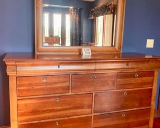 "Lot 1516 Asking $900.00  Gorgeous ""Marquette""  9 Drawer Dresser with Wood Framed Beveled Glass Matching Mirror Orig. Pd $2300.00 w/ Mirror by Virginia Sterling from Tom's Price. 66"" L x 19"" D x 40"" H"