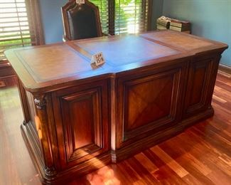 "Lot 1518  Asking $795.00   Wow!! ""The Sheridan"" Executive Desk"" Custom from Walter E. Smithe includes Leather Top, 2 File Drawers, 2 Writing Drawers and 2 Storage Drawers. Beautiful Home Office Desk. 71"" L x 36"" D x 30.5"" H  Orig. Pd $1982.00"