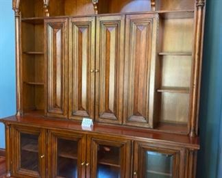 "Lot 1520 Asking $900.00. Stunning 2 Piece Office Credenza/Console and Hutch with Room for Large HDTV (50- 55""), Book Shelves, Display Space and Storage with Glass Doors on Credenza from Walter E. Smithe.  Orig Paid $3100.00.  83"" L x 22.75"" D and 96"" H"