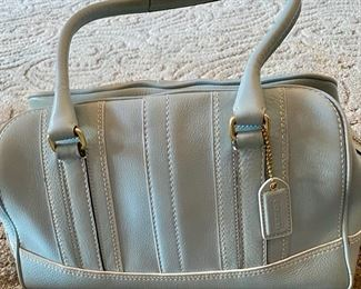 "Lot 1522 $45.00 Authentic Coach Baby Blue Satchel. Excellent Condition with slight soiling on bottom, Top Zipper.  13"" x 7"" H x 6"" D"