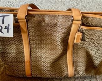 "Lot 1524  $70.00  Authentic Coach Signature Tote.Tons of Storage, Center Top Zipper and Great Condition. 18"" W x 13"" H x 5.5"" D"