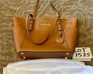 Lot 1525 $100.00   Like New Michael Kors Tan Leather Satchel with Dust Cover